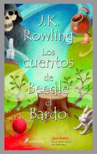 A colorful image shows a tree stump in the center, with growing vines, a bleeding heart in a chest, a rabbit with a stick in its mouth, a brass cauldron with a human foot, a hooded skeleton, and a fountain are spread around the edges of the image. Spanish text is overlaid on top of the image.