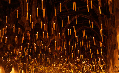 candles in the great hall's night sky ceiling