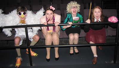Lucas dressed as Hedwig with friends