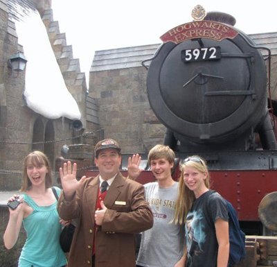 Lucas at the Wizarding World of Harry Potter with friends