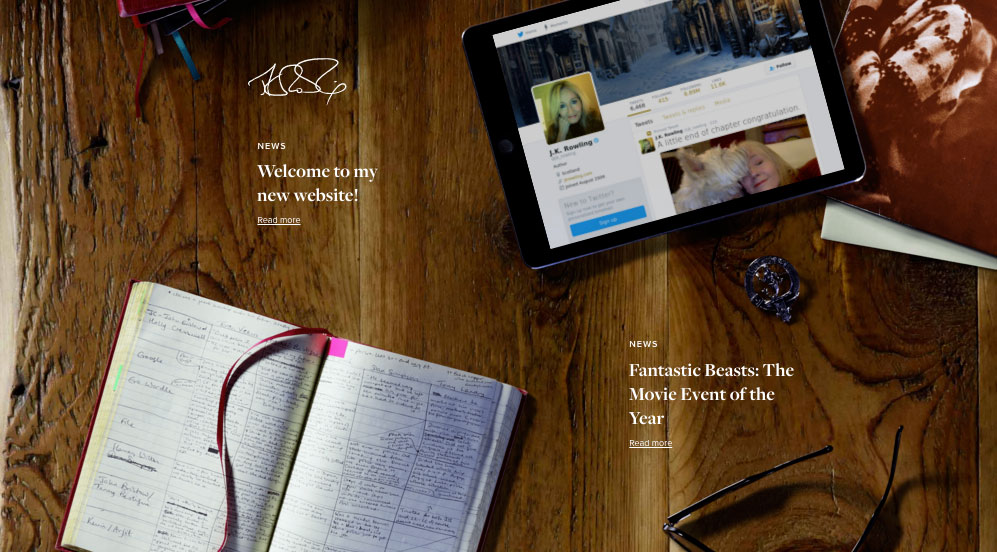 jkrowling.com home page