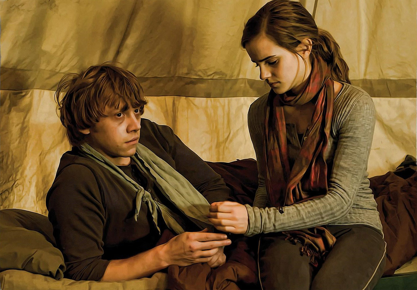 Hermione tending to Ron