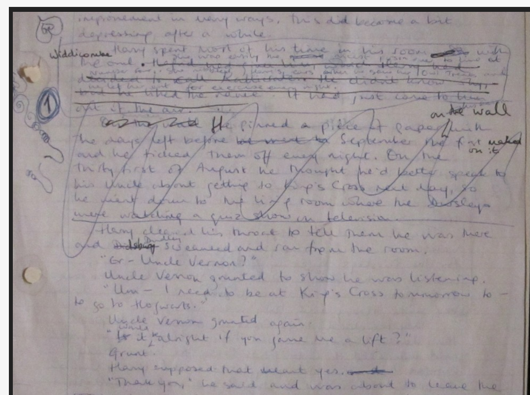 """Philosopher's Stone"" original manuscript (Part 2 of Page 1)"