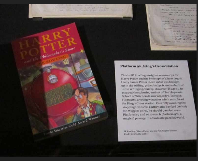 """Philosopher's Stone"" original manuscript exhibit card"