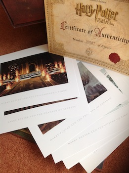 collectible movie scene postcards and a certificate of authenticity