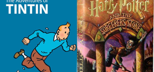 The Adventures of Tintin book side-by-side with Harry Potter and the Sorcerer's Stone
