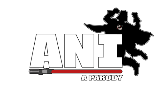 """Test that reads """"Ani: a parody"""". A lightsaber divides the words into two lines, and a silhouette of darth vader jumps behind the text"""
