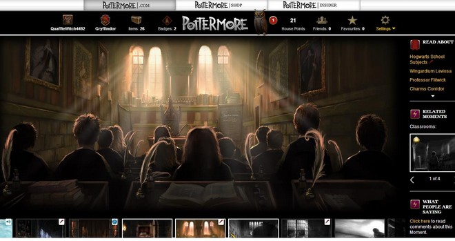 pottermore art of students in charms class