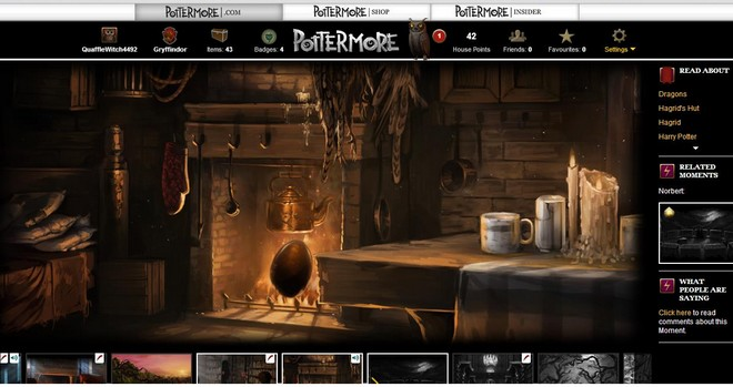 pottermore art of the dragon egg sitting in the fire at hagrid's hut