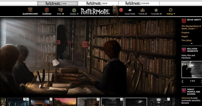 pottermore art of hagrid and the kids in the hogwarts library