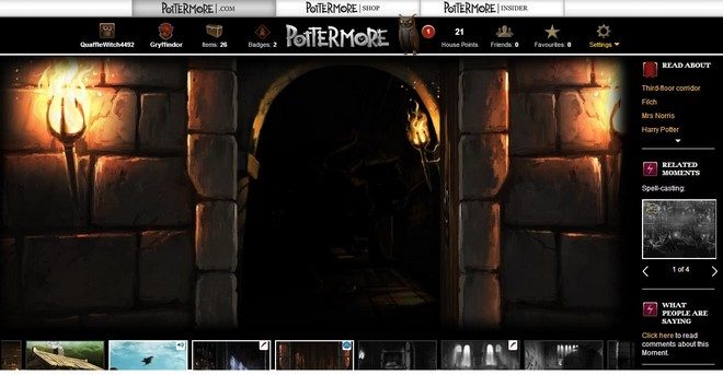 pottermore art of the unlocked door to the forbidden corridor, with fluffy just visible in the background