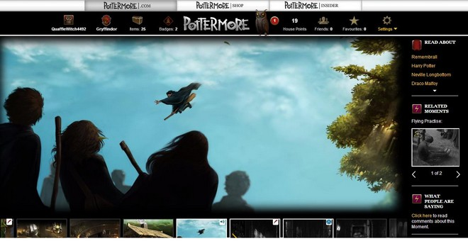 Pottermore art of Harry at the first flying lesson