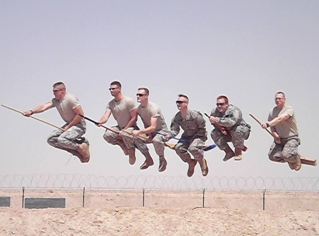 US soldiers appear to be flying on broomsticks