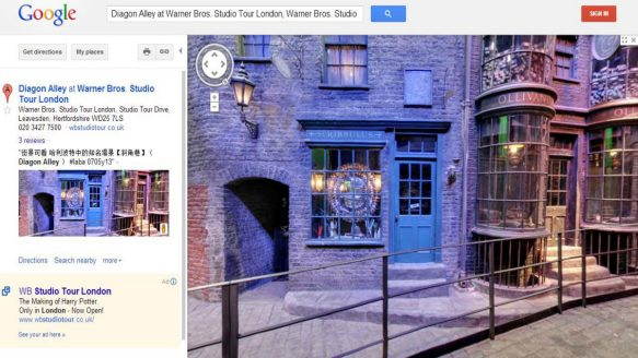 a screenshot of Google's street view of Diagon Alley