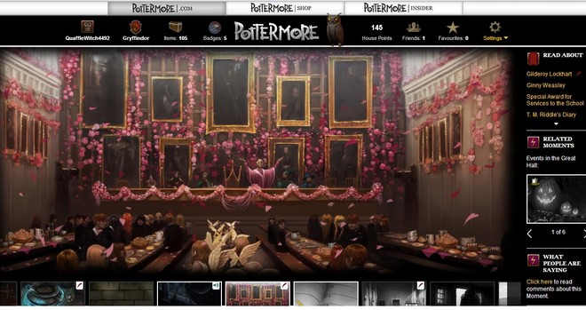 pottermore art of the castle decorated for Valentine's Day