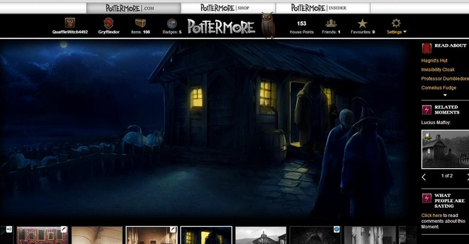 pottermore art of hagrid standing in the doorway of his hut at night, facing the figures approaching him