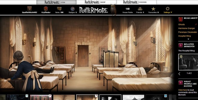 pottermore art of Madam Pomfery tending petrified students in the hospital wing