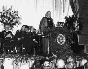 "Churchill giving his ""Iron Curtain"" speech at the age of 72"