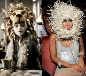 luna lovegood is shown wearing her gryffindor lion hat. Lady Gaga is on the other side of the image wearing an extravagant headpiece that resembles a lion's mane