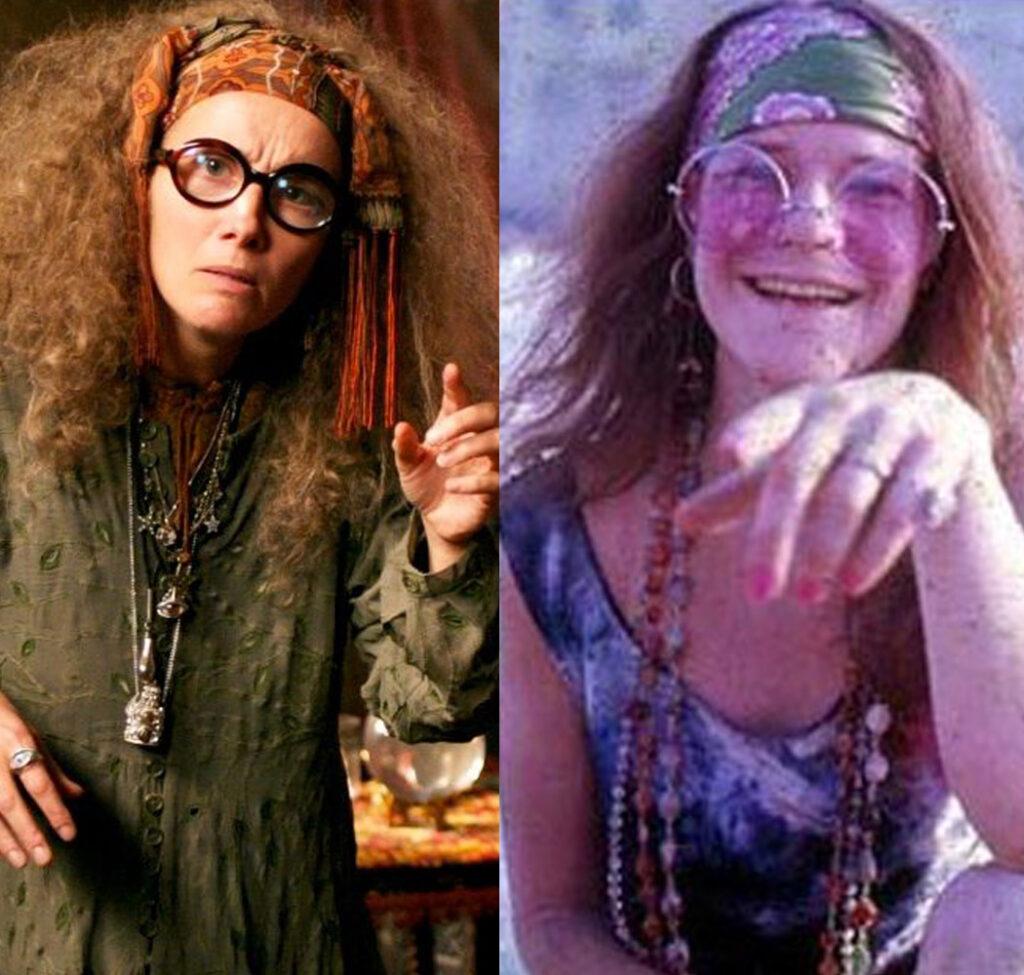 professor trelawney and janis joplin sporting similar hair, headbands, glasses, and poses