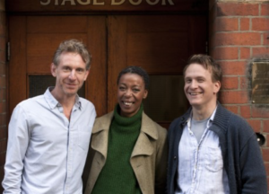 L-R Paul Thornley (Ron), Noma Dumezweni (Hermione), and Jamie Parker (Harry) at the Palace Theatre. Photo by Simon Annand