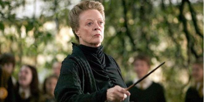 Minerva McGonagall grimly brandishing her wand