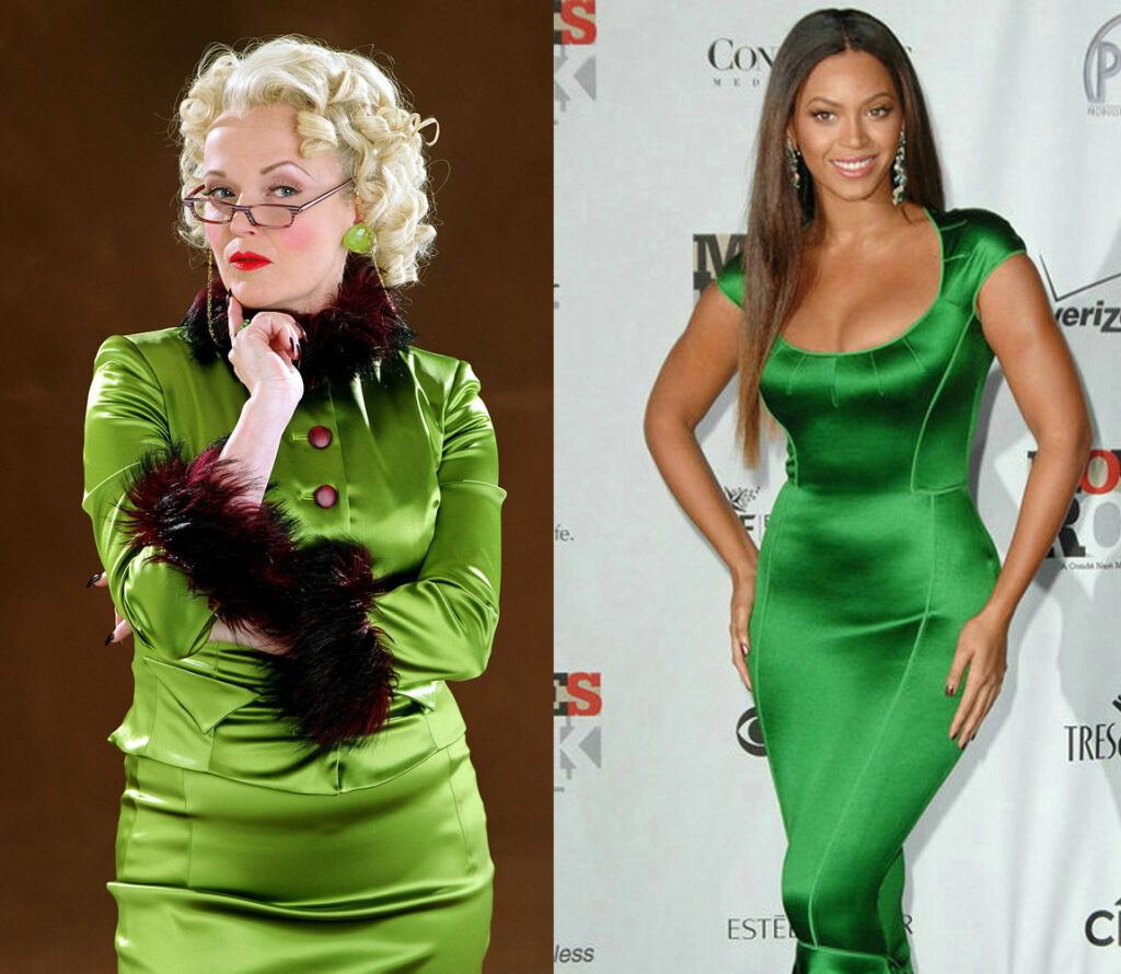 rita skeeter and beyonce, both wearing bright, tight-fitting silky green dresses