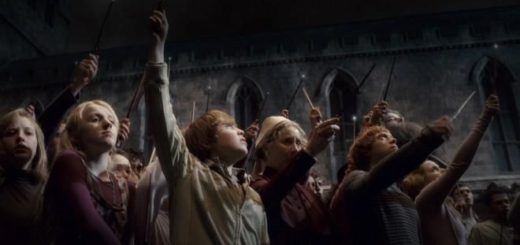 Hogwarts raise their wands after Dumbledore's death