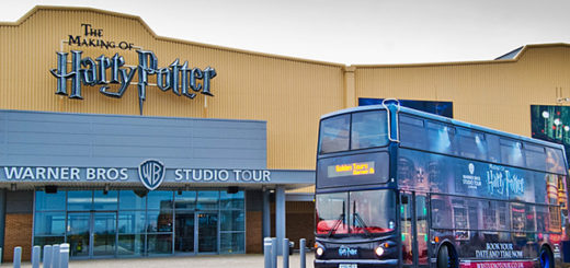 Harry Potter bus in front of Warner Bros. Studios in London