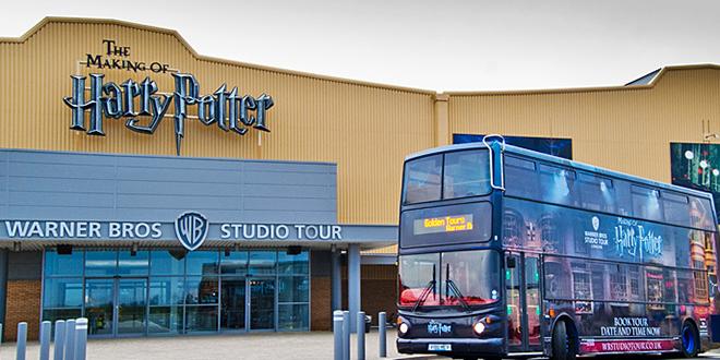Harry Potter bus in front of Warner Bros. Studios in London
