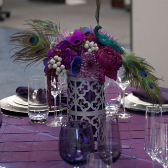 Peacock and flower centerpiece
