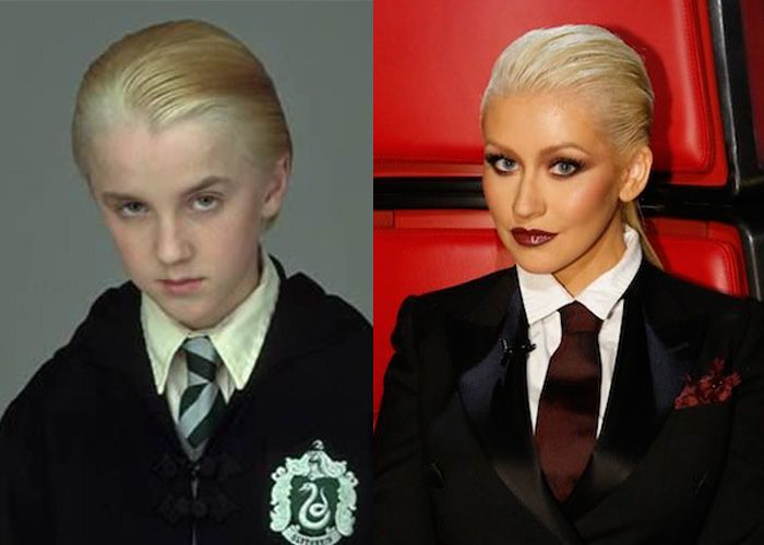 side-by-side comparison of draco malfoy and christina aguilera, each sporting slicked-back blond hair, a black blazer with white collared shirt and a tie, and a pouting expression