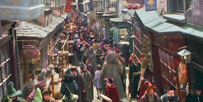 "Diagon Alley crowded street from ""Harry Potter"" movie"