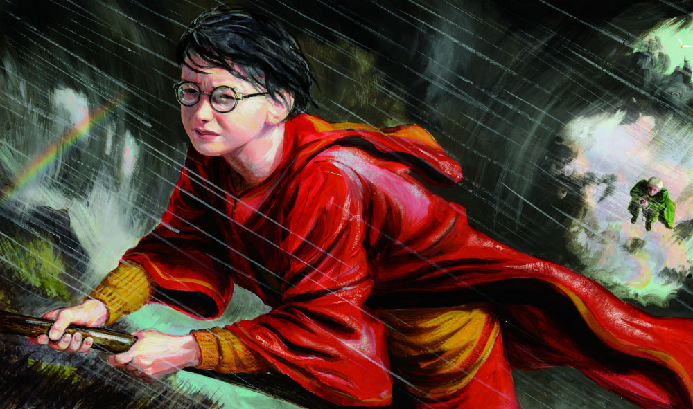 Harry playing Quidditch illustration
