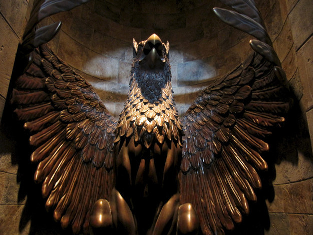 The door to Dumbledore's office, an intricately-crafted golden griffin