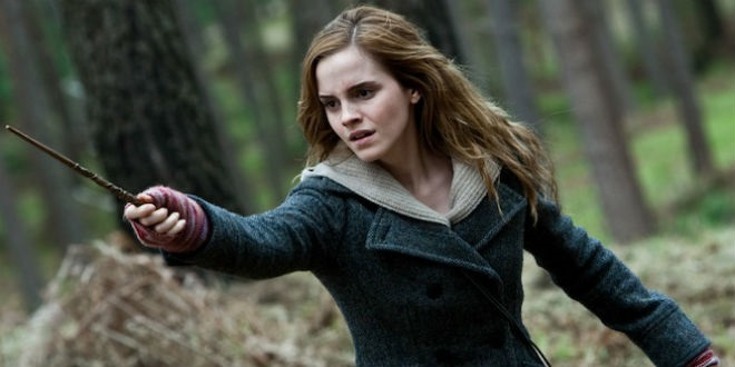 Hermione in a forest point her wand