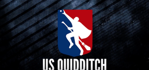 The logo for US Quidditch, featuring a player on a broomstick trying to catch a snitch, is shown.