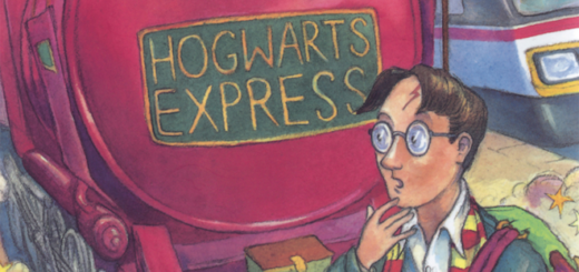 "The cover of the first edition of ""Harry Potter and the Philosopher's Stone"" is shown."