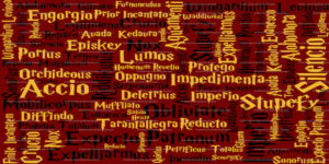 a word cloud of harry potter spells in yellow and black on a red background