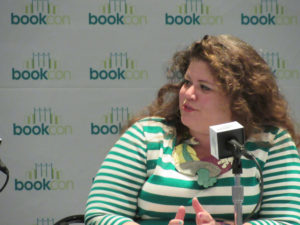 "Rainbow Rowell in her ""Carrying On"" panel"