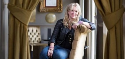 """""""Harry Potter and the Cursed Child"""" producer Sonia Friedman is pictured sitting sideways in a chair in an undated photograph."""