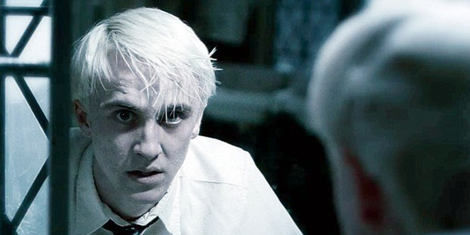 Draco Malfoy looking panicked in HBP bathroom scene