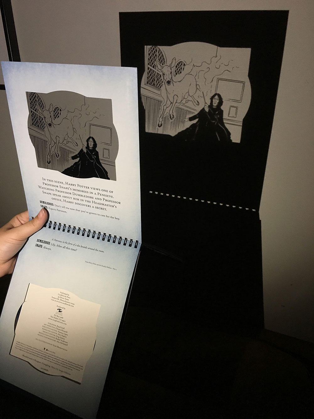 Hand holding a page of the Patronus Charms book
