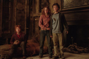 Harry, Ron, and Hermione in the Shrieking Shack