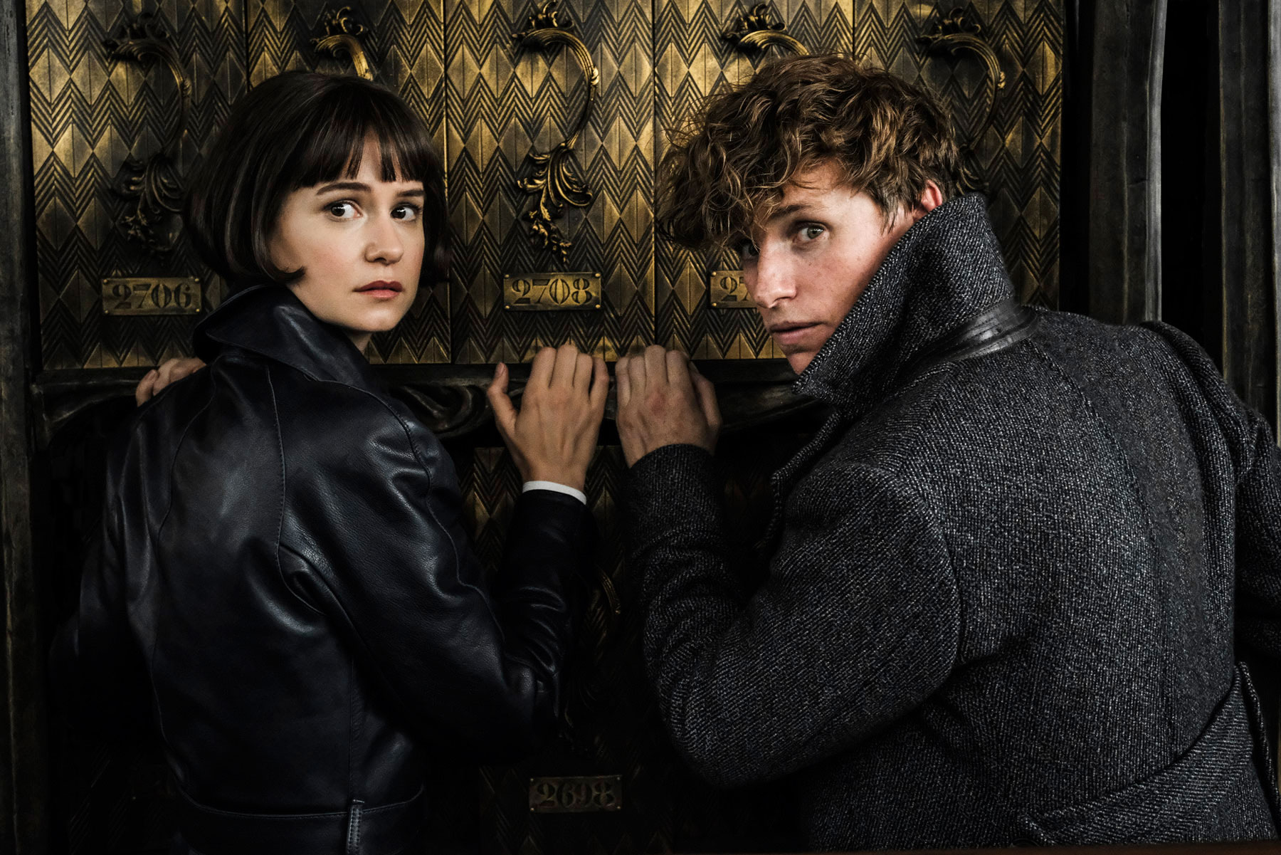 """Fantastic Beasts: The Crimes of Grindelwald"": Tina Goldstein (Katherine Waterston) and Newt Scamander (Eddie Redmayne)"