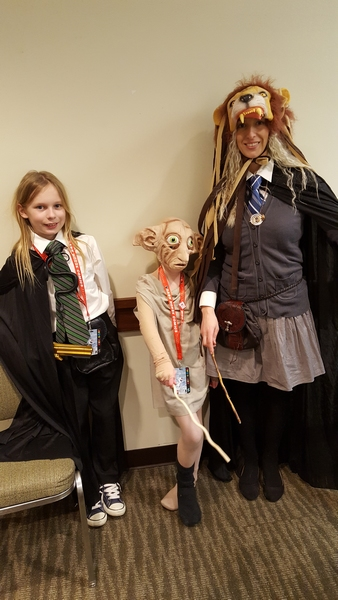 Amanda as Luna, McCallister as Dobby, and Lucien as a Slytherin student