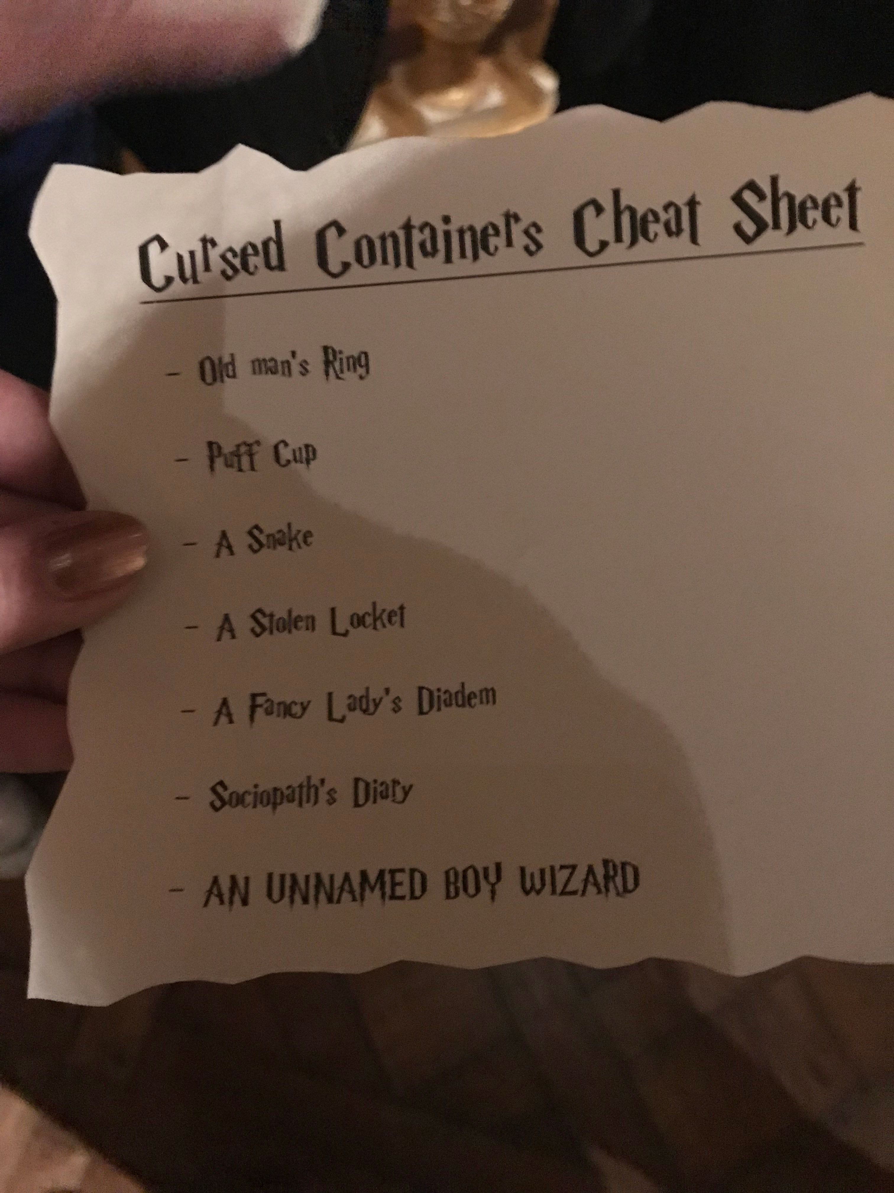 Cursed Containers Cheat Sheet