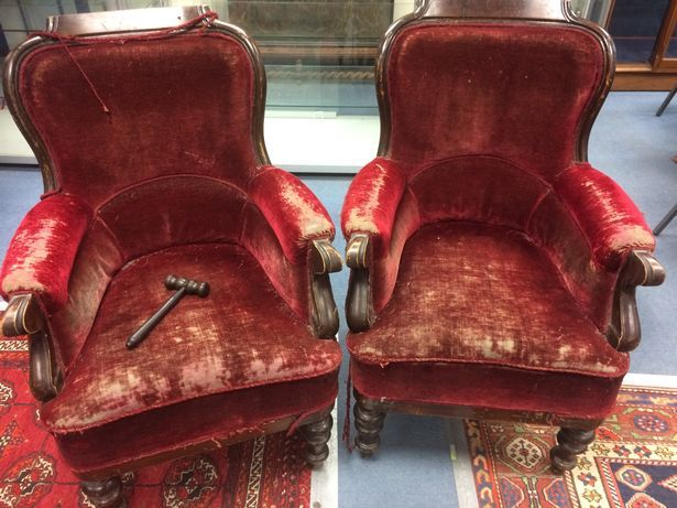 Two armchairs from the Gryffindor common room