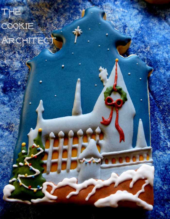 Decorated Hogwarts Castle cookie