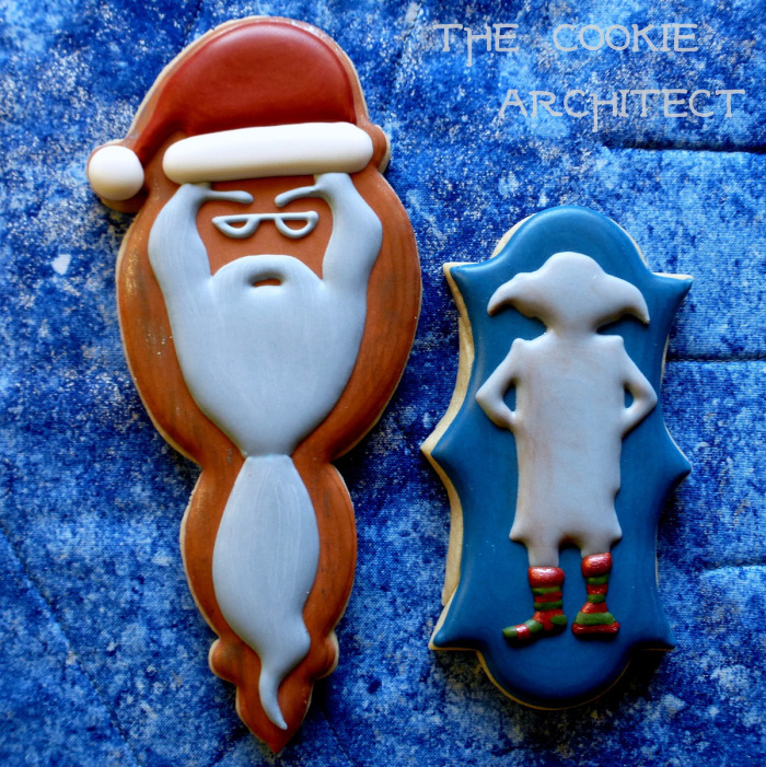 Santa Dumbledore and Dobby cookies
